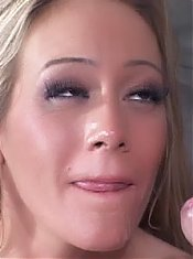 Sexy blonde wife Leah Moore sizes up a big wang with her mouth and gets her poop chute drilled