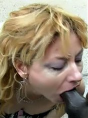 Blonde grandma Jules almost gagged while giving her black fuck buddy a wild blowjob live