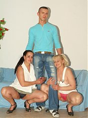 Juliana and Elizabeth are horny mature BBW enjoying an intense threesome with a younger guy